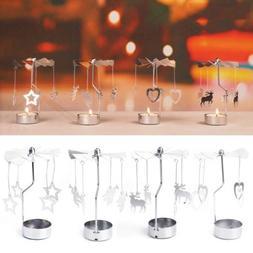 Xmas Rotating Spinning Carrousel Tea Light Candle Holder Cen