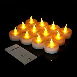 Youngerbaby 12pcs Yellow Flameless Led Tea lights Candle wit